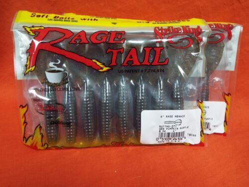 "#RGTTMG -271 Grn Pump violet 2 PKS 8 CNT Strike King Rage Tail Rage menace 4/"""