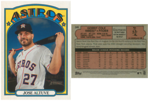 2021 Topps Heritage Jose Altuve Front w/ Gerrit Cole WRONG BACK ERROR Card #249