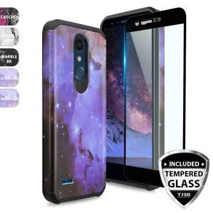 For-LG-Premier-Pro-LTE-Shockproof-Rubber-Design-Phone-Case-Black-Tempered-Glass