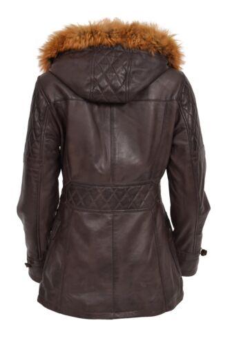 Parka Ariel Duffle Slim Coat Fit Classic Brown Detachable Leather Hoodie Womens a8BUnPq
