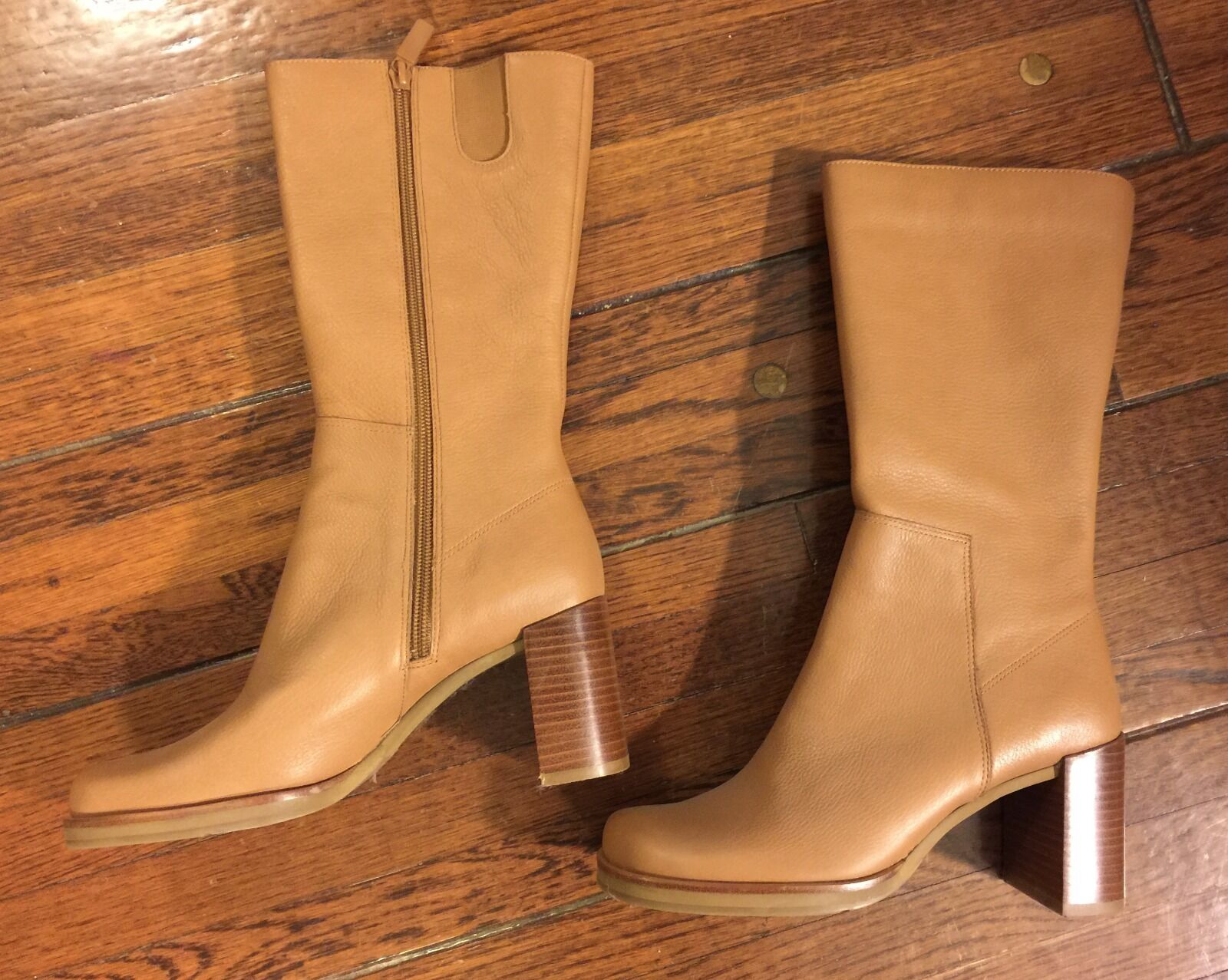 SALE! Me Too NEW tall BOOTS Caramel colored, zip-side Size 6.5 - Stacked heel