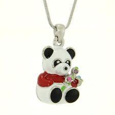 """w Swarovski Crystal Red White Panda Bear Enamel 3D Pendant Necklace 18"""" Chain"""