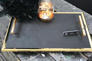 Tablett Metall Samt Velours Schwarz Gold Ocker 40x30x4,5 cm Kerzen Tablett