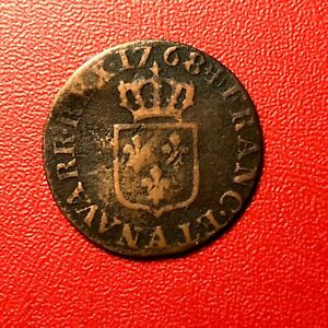 1506-RARE-Louis-XV-Liard-a-la-vieille-tete-1768-A-Paris-FACTURE