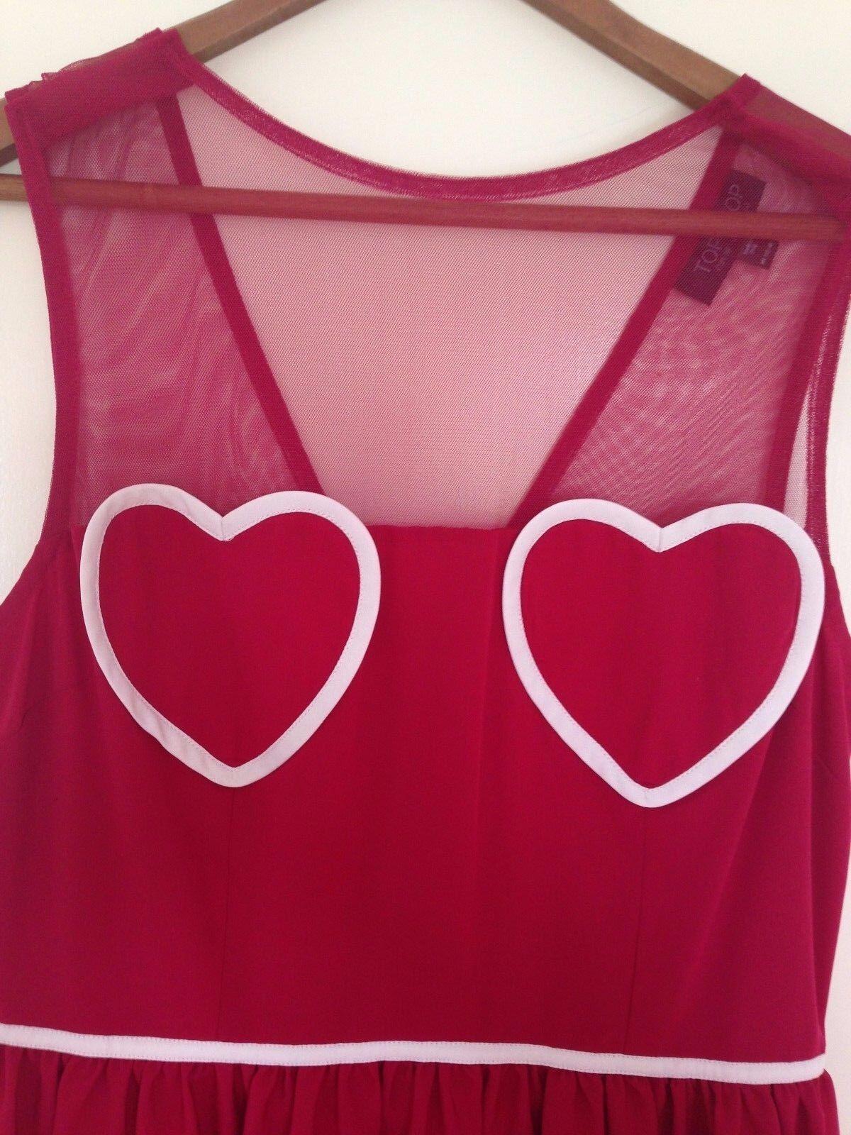 Nouveau Topshop Rosey-Coeur Rouge Maille Flippy Summer Skater tea party party party dress UK 10 b2284c