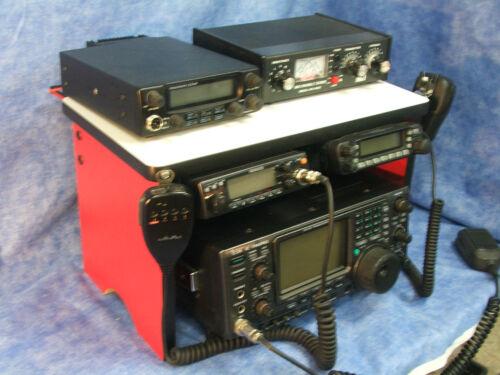 Blue CB Radio Bench Mount Rack Stack Holder Kenwood Yaesu Icom Mike Antenna