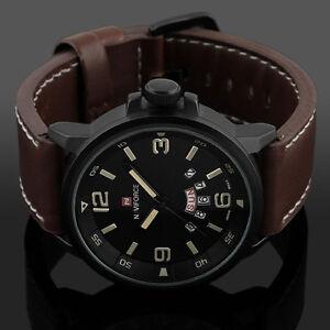 Herrenuhr-Datum-Armbanduhr-Sport-Army-Analoguhr-Quarz-Leder-Wasserdicht-Watch