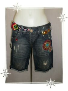 Short-Bermuda-Fantaisie-Jean-Strass-Boutons-Desigual-Taille-38