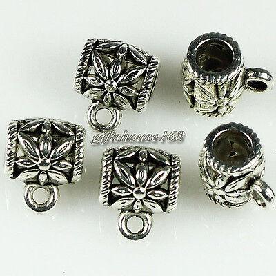 50pcs Tibetan Silver Tone Flower Cup Connectors Bails