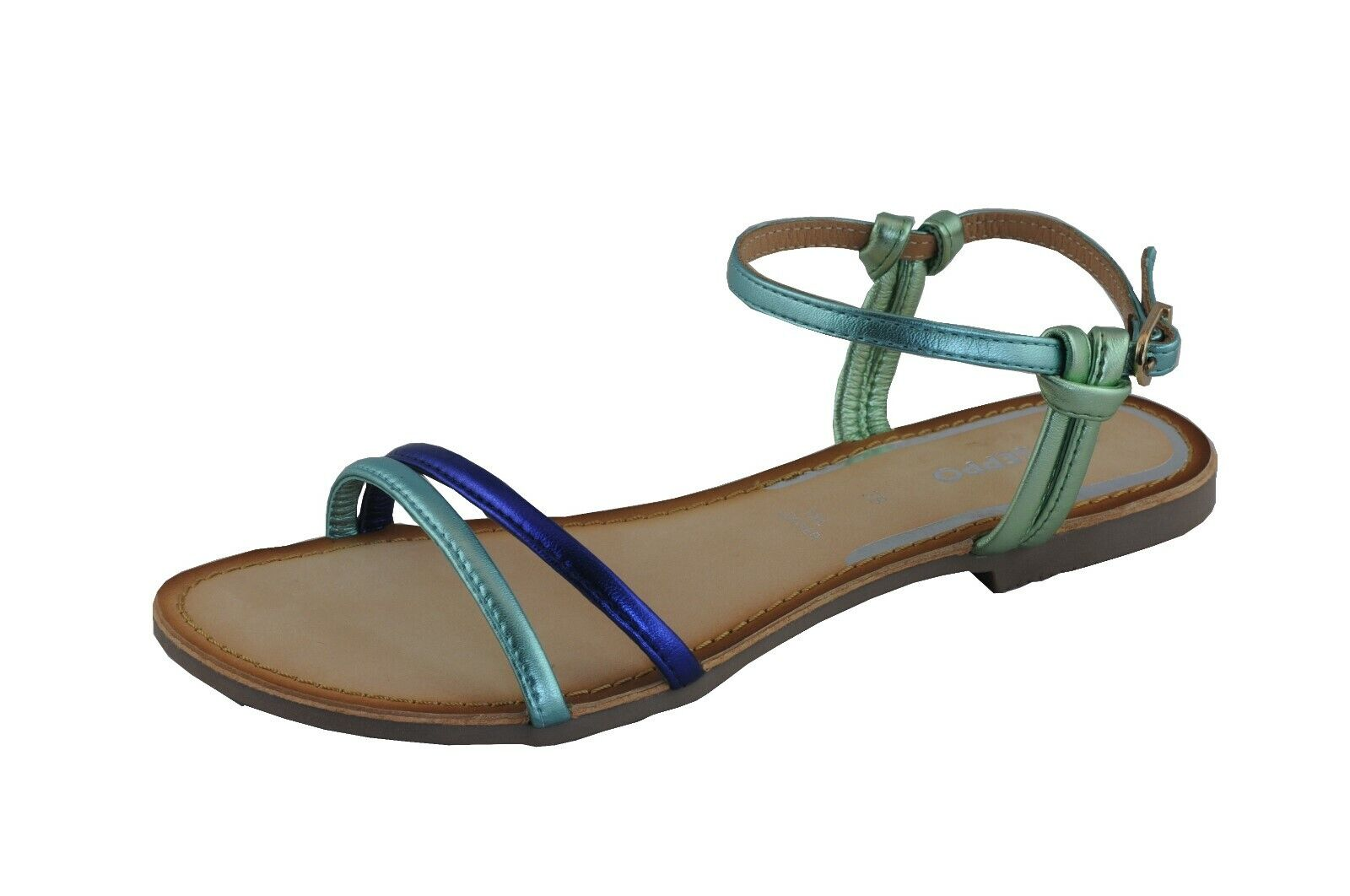 Gioseppo Sandale Femmes Rieti 48217 Vert-Bleu en Cuir D'Agneau Doubleure en Cuir