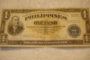 1 Peso Blue Seal Philippines Victory Note from World War II