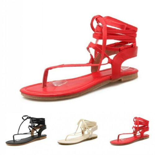 Women Summer Sandals Thongs Lace-Ups Cross Wrap Strappy Clip Toe Sandals Beach
