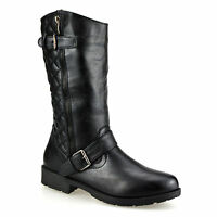 Ladies Womens Mid Calf Quilted Flat Zip Up Winter Riding Biker Boots Shoes Size