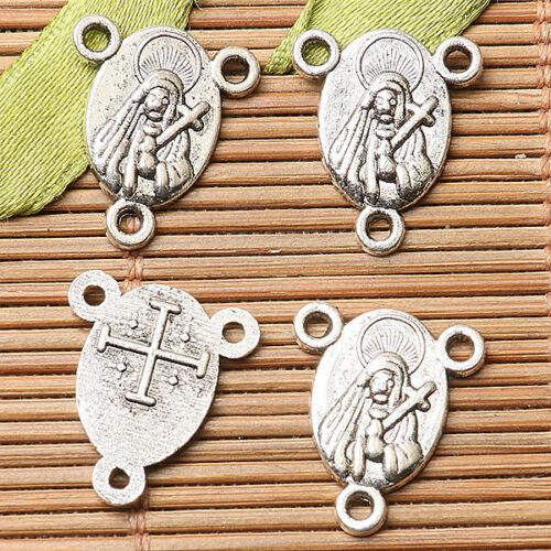 25pcs dark silver color religious portrait link connector EF2697