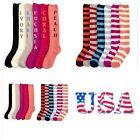 New Women Plush Soft Fuzzy Knee High Socks Winter Warm 9-11 Solid Stripe Slipper