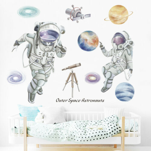 Removable Wall Sticker Kids Boys Outer Space Astronauts Planets Galaxy Astronomy