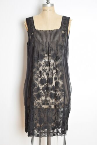 ELIE TAHARI dress sheer black silk embroidered flo