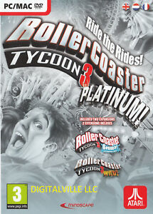 RollerCoaster Tycoon 3 Platinum PC/MAC Soaked & Wild expansions Roller Coaster