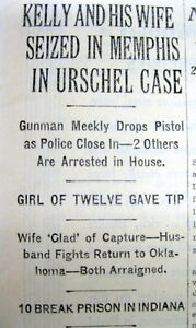 1933 NY Times newspaper gangster MACHINE GUN KELLY captured by FBI in Memphis TN