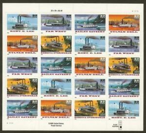 "3095b Special Die Cut Printing Pane 20 ""Riverboats"" MNH"