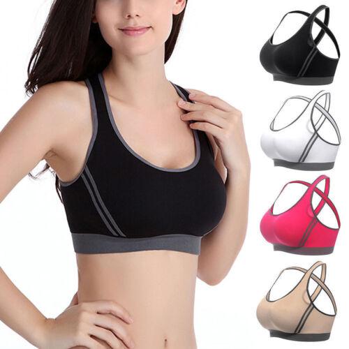 Damen Push up Sport BH Bustier Bra Fitness Yoga Unterwäsche ohne Bügel Weste Top