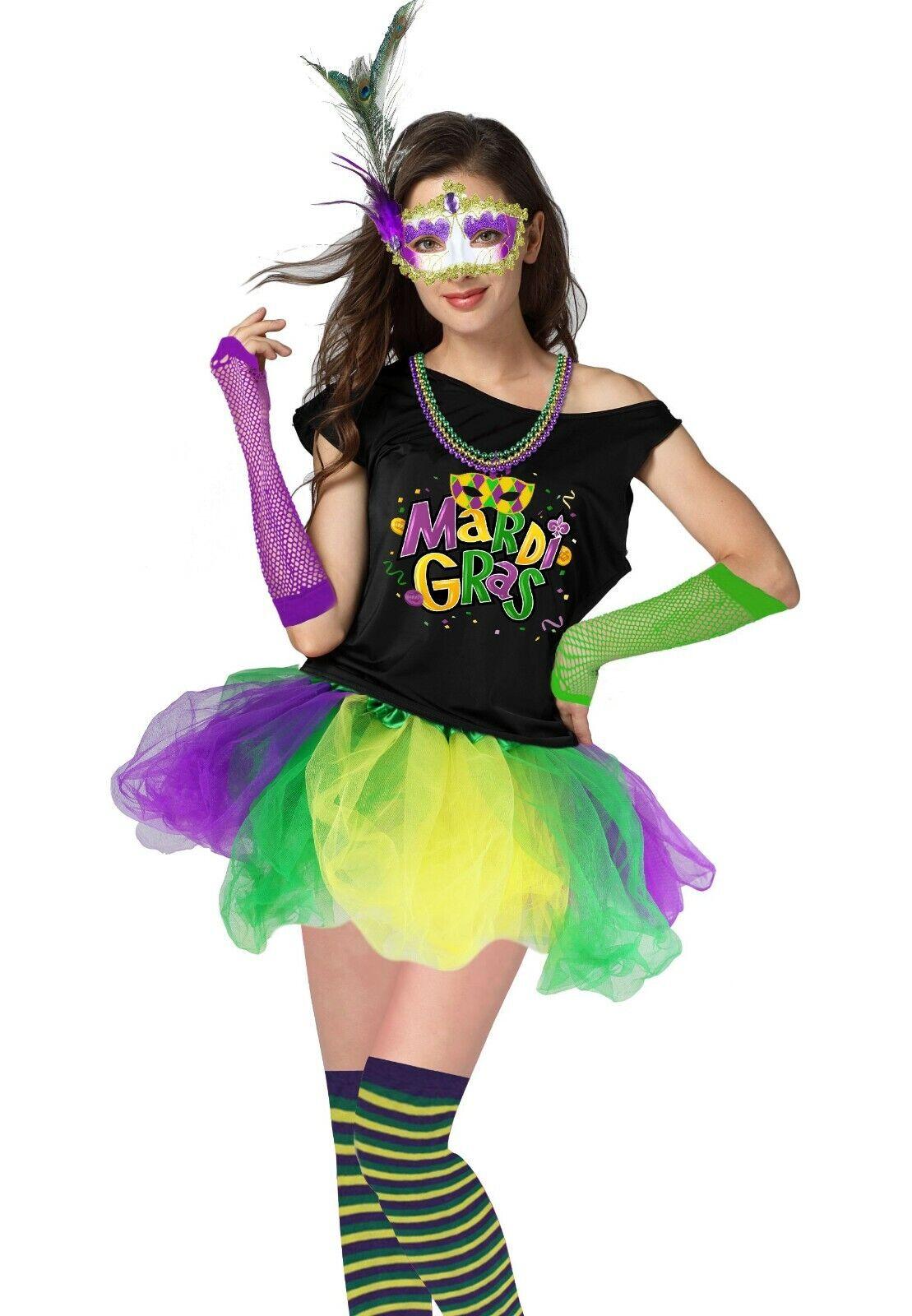 Mardi Gras Tutu Skirt Womens Girls Green Purple Yellow Costume Accesory Large