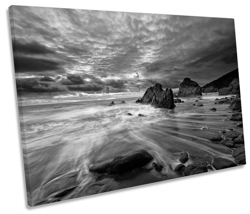 Paisaje Marino Playa Playa Playa Costa Sunset B&W SINGLE LONA parojo arte enmarcado impresión 1df254