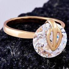 Vintage  wedding round clear crystal Yellow Gold Filled Womens Ring lot Size 7