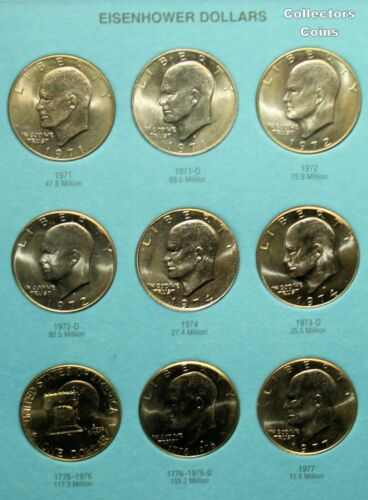 1971-1999  $1 Eisenhower /& Susan B Anthony Dollar 27 coin PDS Uncirculated Set