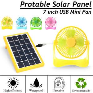 5V-Solar-Panel-Solarzelle-7-039-039-USB-Fan-Luefter-Ventilator-Garten-Camping