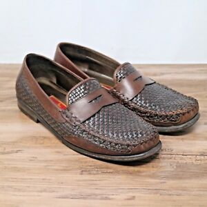 4749a5284e5 Cole Haan Country Womens Brown Leather Woven Slip On Casual Loafers ...