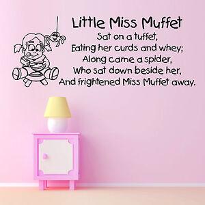 Little-Miss-Muffet-infantil-NURSERY-RHYME-Vinilo-Adhesivo-mural-FRASE