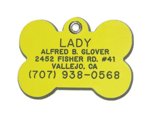 Medium Bone Shaped  Pet ID Tag  Thick Acrylic Plastic Personalized Reflective