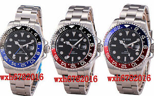 43mm-Bliger-Sapphire-Glass-Black-Dial-GMT-Stainless-Automatic-Men-039-s-Watch-653