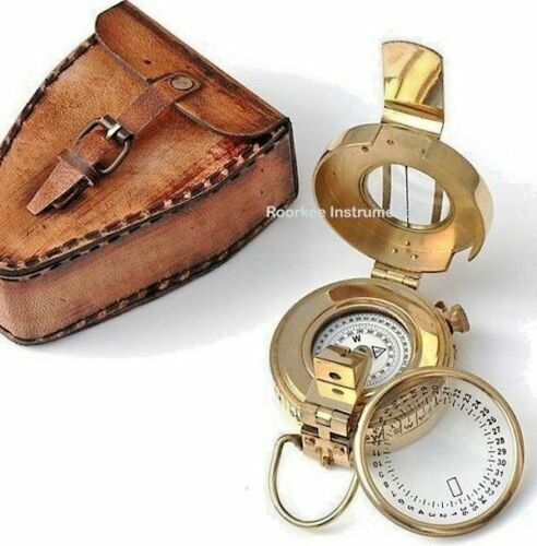 Maritime Solid Brass Nautical Prismatic Compass// Military Compass w Leather Case