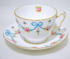 Crown Staffordshire England Blue Bow Tea Cup and Saucer