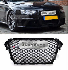 RS4 Style Black Frame Grille Mesh Ring Chrome Emblem for AUDI 2013-2016 A4 / B9