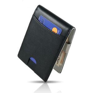 NEU-Leder-Geldboerse-Herren-RFID-Brieftasche-Geldbeutel-Portemonnaie-Geldklammer