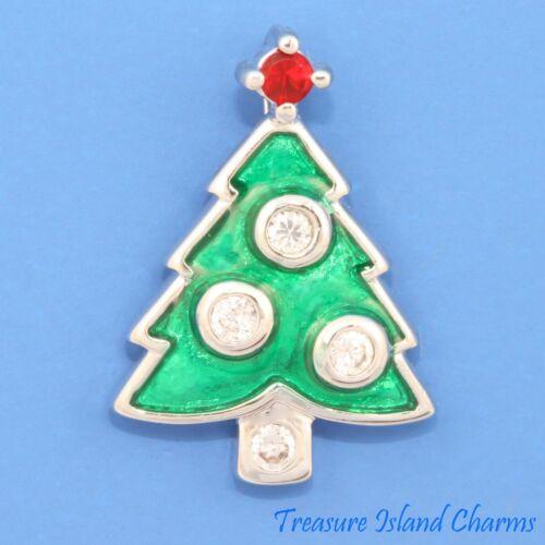 Émail Arbre De Noël Avec Zircone Cubique Zircon Cristaux Argent .925 Charme Pendentif