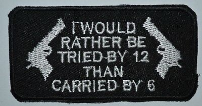 I WOULD RATHER BE  logo sport biker Iron//Sew on Embroidered Message jeans Patch