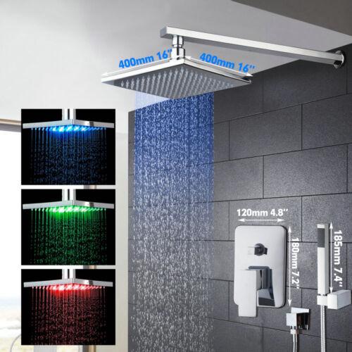 "16/"" LED Wall Mount Rain Bathroom Square Shower Head Hand Sprayer Faucet Tap Unit"