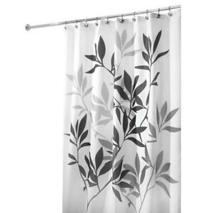 Details About Bathroom Interdesign 35620 Black Gray Leaves Print Cloth Shower Curtain