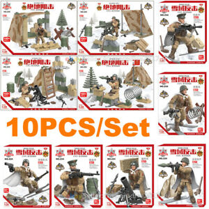 WW2-WWII-Military-Soldiers-Army-US-USSR-Weapon-Fit-LEGO-Minifigures-Mega-Blocks