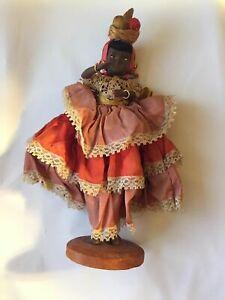 Old Vintage African Jewels Fruit Basket 9.5 Inch Doll Folk Art hard wood stand