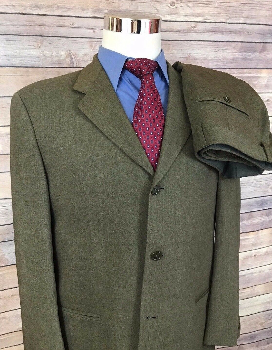 women Karan Signature Green Textured Slim Fit Wool Suit Men's 40R 34x26 Mint
