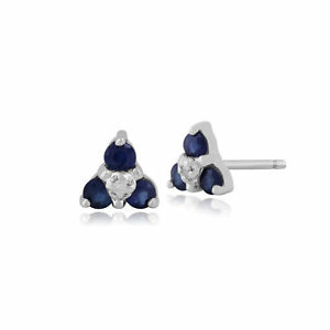 9ct-White-Gold-0-30ct-Sapphire-amp-Diamond-Classic-Cluster-Stud-Earrings