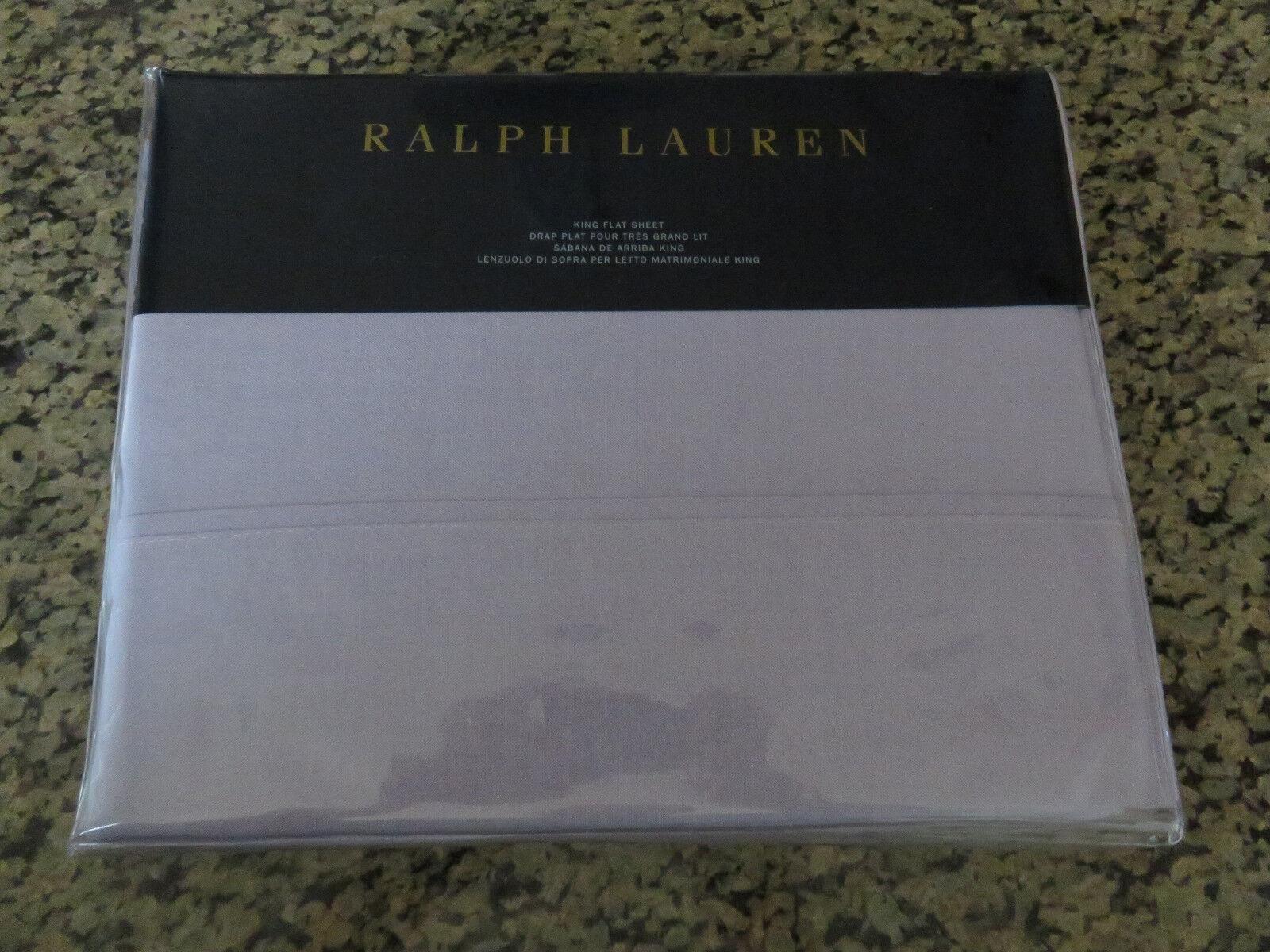 RALPH LAUREN King or Queen Flat Sheet Luxury Oxford lila Lavendar
