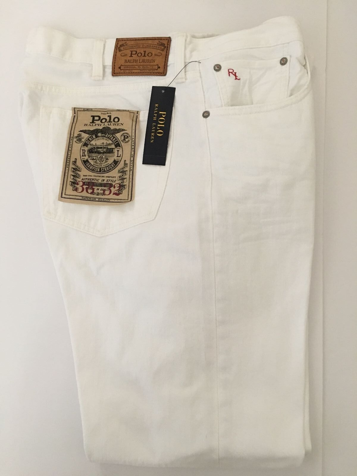 NWT Polo Ralph Lauren Mens Jeans Hampton Straight Hudson White Size 38 W x 32 L