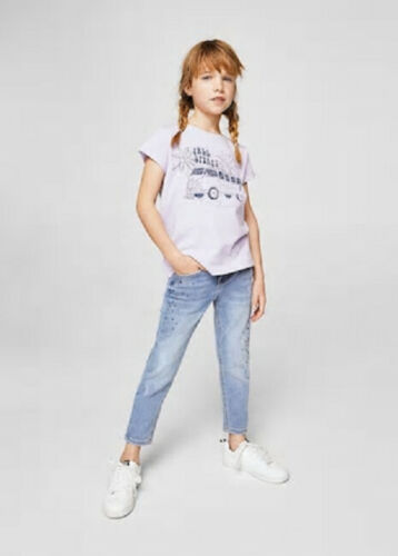 Girls 100/% cotton light purple colour t-shirt with graphic print from mango