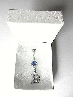 Cooperative Initial Body Piercing Jewelry Letter B Stainless Steel & Blue Crystal Belly Navel Bar In Gift Box Aromatic Flavor